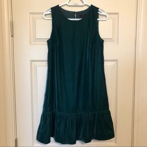 J Crew Holiday Velvet Green Shift Dress